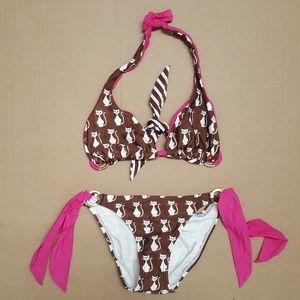 83fa31fd7c Sofia By Vix Cats Two Piece Bikini Set Size Large